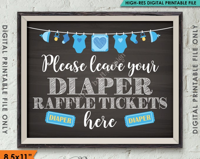 """Diaper Raffle Ticket Sign, Leave Your Ticket Here, Raffle Ticket Baby Shower Sign, Blue Clothesline, Chalkboard Style PRINTABLE 8.5x11"""" <ID>"""