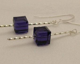 Swarovski Purple Velvet cube drop earrings