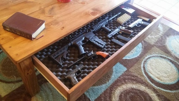 coffee table with hidden gun storage by rustichomeandporch on etsy. Black Bedroom Furniture Sets. Home Design Ideas