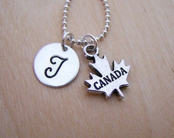 Canada Necklace - Canada Charm - Personalized Necklace - Custom Initial Necklace - Initial Jewelry - Monogram Necklace - Gift for Her