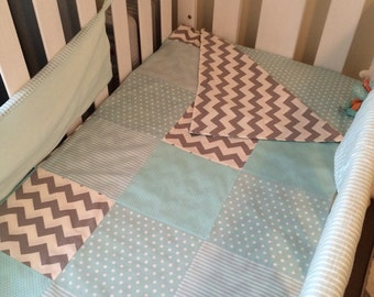 Mint and grey patchwork cot quilt/duvet cover