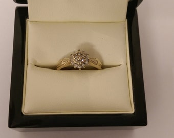 9ct Yellow Gold Diamond Cluster Ring SIze O