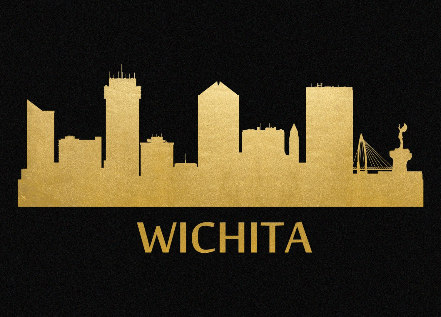 Wichita skyline gold foil print 8x11 for Craft stores wichita ks