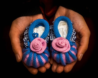 Tricot baby shoes, tricot baby socks