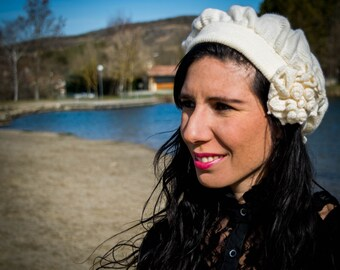 Tricot beret vintage, tricot hat, flower hat, change embellishment