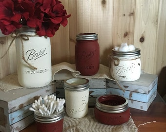 6 Piece Distressed Mason Jar Bathroom Set Unique and Rustic Off-White and Barnyard Red Color Cottage Shabby Chic Farmhouse Wedding Autumn