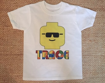 Lego Toddler shirt. Birthday. Legoland. Minifigure tshirt.