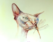 Original watercolor painting, 8X10in, cat and dragonfly