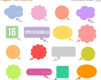 80% OFF Speech Balloons Vector Illustrations, Cliparts, Clip Arts, Colored, Pastel, Cartoon, Commercial Use,Personal Use, Bubbles, Text Bann