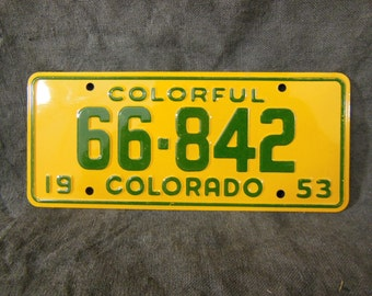 Colorado State Bicycle License Plate - 1953 Bike License Plate -Mini Colorful Metal Signs