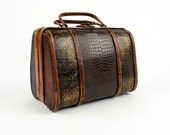 Handmade Wooden Handbag Purse.  Hand Formed Wood with Alligator Style Leather and Metal Design work, Vintage Bentwood, Bent Woodwork,