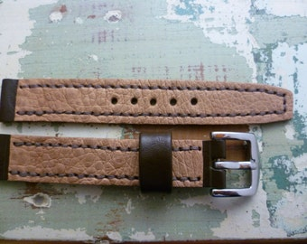 Watch strap, Cane toad leather, colour: Natural and Brown