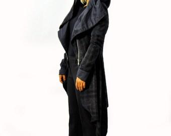 Wool coat/Autumn and winter wool coat/Casual dark blue wool jacket/Coat with zipper/Extravagant asymmetrical hooded coat/Hooded Coat /C1267