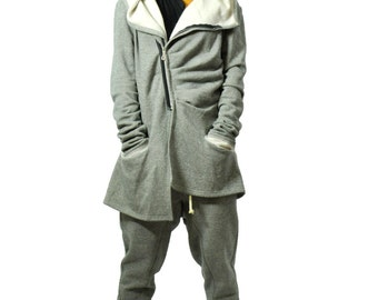 Gray cotton warm jacket/Casual asymmetrical jacket/Woman coat with pockets/Jacket with zipper/Hooded jacket/Cotton  hooded gray jacket/A1322
