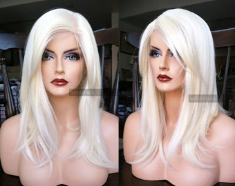Blonde Lace Front Wig // Long Platinum Blonde Heat SAFE Pre-cut Lace Front & Skin Top Medium Straight Wig w/ Side Bangs