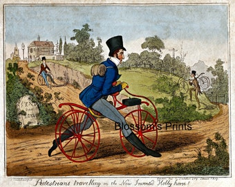 """Pedestrians travelling on a new invention """"The Hobby Horse"""""""