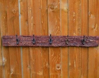 Primitive Wormy Wood Iron Coat Rack