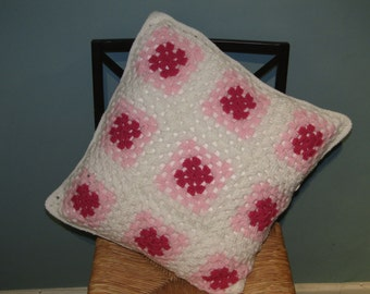 New Handmade Pink and White Crochet Cushion Cover