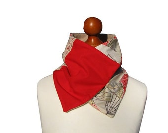 Neck scarf red pink beige off-white Japanese fabric necklace