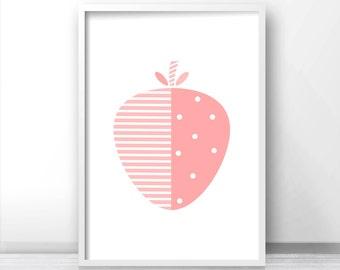 Girl Nursery Wall Art, Modern Nursery Art, Fruit Print, Baby Girl Nursery Print, Girls Room Print, Printable Kids Strawberry Art, Pink Decor