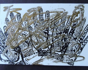 Abstract Hand and Swirls in Black and Copper Rubber Stamp Art 1995 005RS