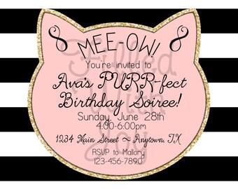Digital/Printable Pink Kitty Invitation