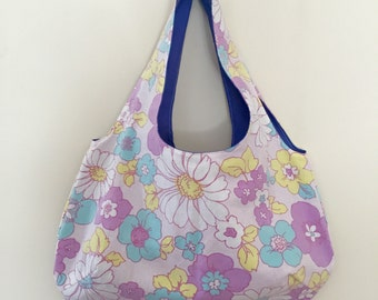 Vintage Purple Floral, Shoulder Bag Handmade by Over It! Designs, Vintage Sheet.