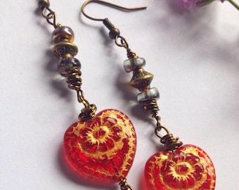 Beautiful indian lamp work glass beaded earrings