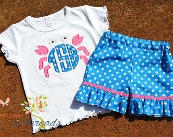 Girl's Crab Shirt, Beach Crab- Monogrammed Shirt- Monogrammed Crab Shirt- Ruffle Shorts- Cute summer shirt-6m, 12m,18m, 2t, 3t, 4t, 5, 6, 8