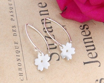 Dinky Sterling Silver Cherry Blossom Flower Drop Earrings | Bridesmaid Gift Idea