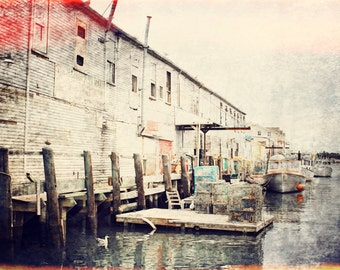 Maine - Portland, lobster boats, dock, water, red, metallic photo