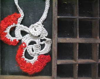 Silk necklace, red yarn, yarn jewelry, cotton necklace, free form crochet, crochet necklace