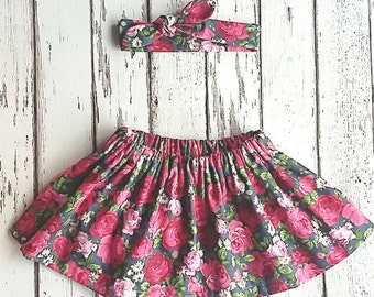 Girl's floral skirt, skirt and topknot, matching set, floral topknot, floral skirt, baby skirt set, toddler skirt set, baby skirt, skirt set