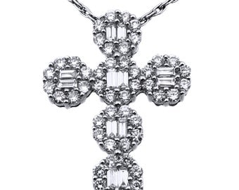 18K White Gold And Diamond Cluster Round Cross