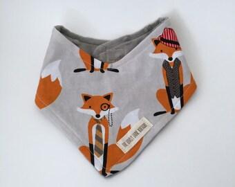Newborn-3 Month bib, bandanna drool bib, fox bib