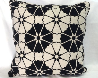Linen & Black Floral Pillow Cover - 20 Inch - Throw Pillow - Decorative Pillow - Ready to Ship