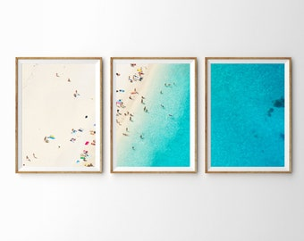Mediterranean Dreams // 3-Piece Set Large Mediterranean Beach Poster Print // Aerial Beach Photography / Sunbaking Summer Triptych Artwork