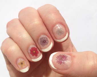 Flowers Nail Stickers / Decals handmade illustrated transfers with unique artwork