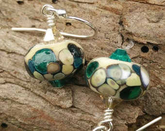 Ivory Forest Lampwork Crystal Earrings