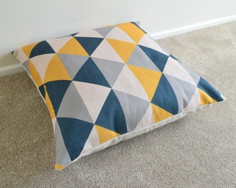1 x Mustard/Grey/Charcaol Black GeometricCotton Linen Floor Cushion/Pillow Cover 26x26""