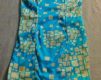 Sale! Vintage Swim Star Swim Suit Made In U.S.A. Size 28L/Small Turquoise and White Squares