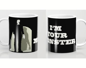 Frankenstein Mug-Monster mug-Gothic mug-Black and white mug-Cinema lover mug-Gift for her-Coffee lover gift-Etsy gift-Gift for him