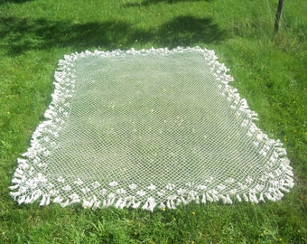 Ivory Lace Bed Canopy, Vintage Hand Crocheted fisherman's Net, Lovely Spring Decor