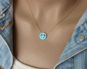 Peace sign necklace, Peace necklace, Peace sign, Opal peace sign necklace, Peace symbol, Peace jewelry, Peace sign pendant
