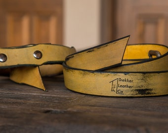 The Yellow Leather Belt | Handmade in the U.S.A. | Trekker Leather Co