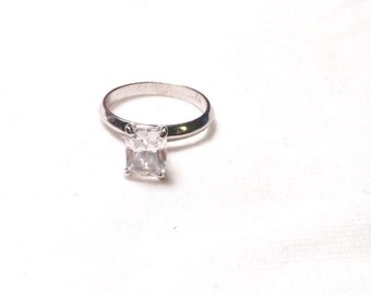 14k white gold with 3 carat cz gem ring