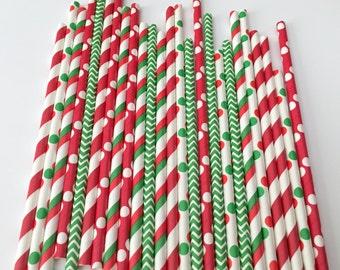 CHRISTMAS STRAWS/Red, White, Green Straws/ Merry Christmas Straws/ Holiday Straws/ Drinking Straws/ Party Straws/ Paper Straws