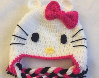 Hi Kitty Cat hat~ cat hat~ crochet hat~ girls hat