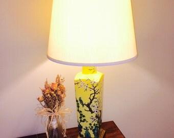 hanson lighting. vintage table lamp; mid-century paul hanson hollywood regency chinese porcelain lighting