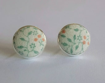 Fabric button stud earrings.